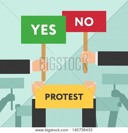 Hand holding protest sign flat illustration. Protest or demonstration. Revolution placard concept symbol flat style modern design vector illustration.