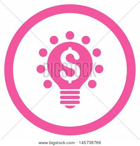 Business Patent Bulb rounded icon. Vector illustration style is flat iconic symbol, pink color, white background.
