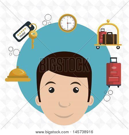 employee hotel building icon vector illustration graphic