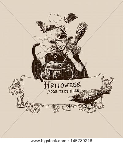 Vintage halloween witch making potion poster vector illustration for banner mail invitation