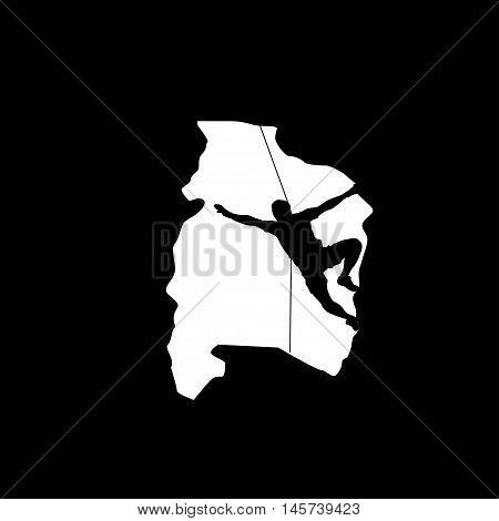 illustration of black color male rock climber silhouette in cave