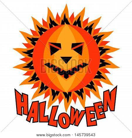 Halloween pumpkin sun inscription isolated vector illustration