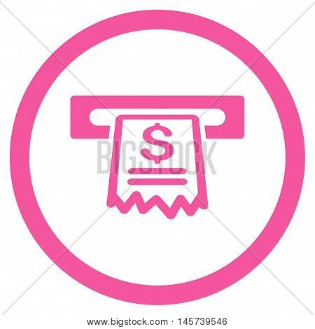 Cashier Receipt rounded icon. Vector illustration style is flat iconic symbol, pink color, white background.