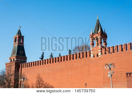 Brick Of The Kremlin Wall That Surrounds The Moscow Kremlin.