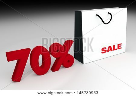 70% sale off promotion for product selling,white shopping bag and text