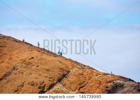 Madeira, Portugal 05 July, 2016: Unidentified People Walking On The Cliffs At Ponta De Sao Lourenco.