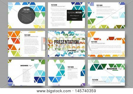 Set of 9 vector templates for presentation slides. Abstract colorful business background, modern stylish hexagonal and triangle vector texture