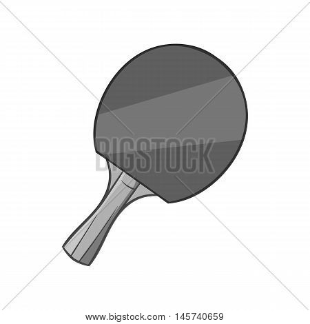 Table tennis racket icon in black monochrome style isolated on white background. Sport symbol. Vector illustration