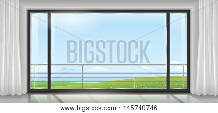 Room hotel or house, apartment, with a huge panoramic window, a door and a view of the sea bay or ocean. Vector graphics