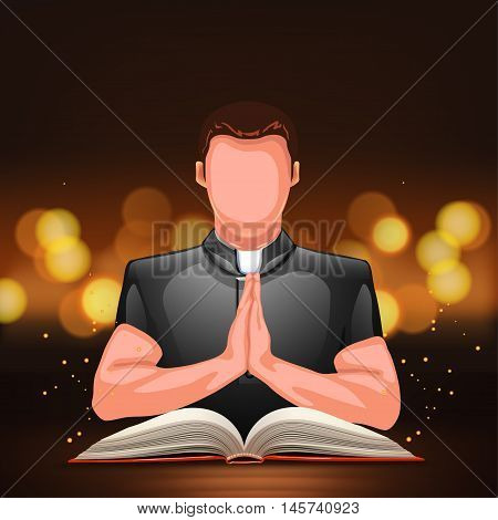 illustration of praying priest with book with a lot of lights behind