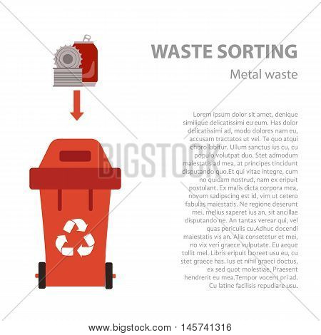 Metal waste sorting flat concept.  Vector illustration of metal waste. Metal waste recycling categories and garbage disposal. Metal waste types sorting management .