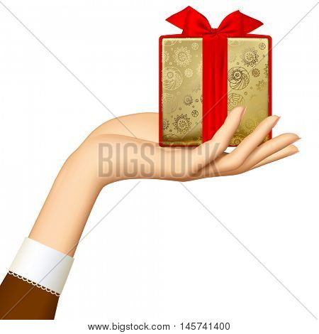 Woman's hand holding gold gift box with red ribbon isolated on white background.  Holidays and greeting season retro concept. Vector illustration