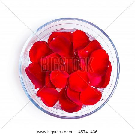 beautiful pink rose petals in glass bowl isolated on white