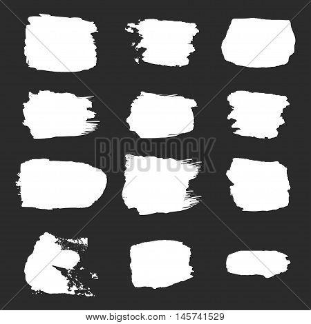 Vector brush stroke paint abstract on white background set hand drawing design art orange color grunge texture frame for banner label