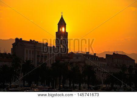 City of Split Riva at sunrise landmarks silhouette Dalmatia Croatia