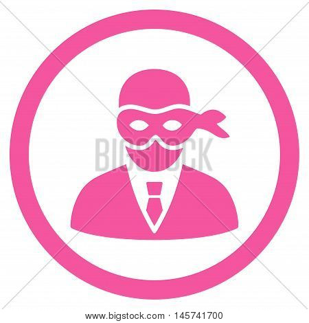 Masked Thief rounded icon. Vector illustration style is flat iconic symbol, pink color, white background.