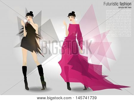 two beautiful girls in modern style, fashion vector  illustration