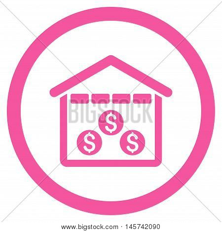 Money Depository rounded icon. Vector illustration style is flat iconic symbol, pink color, white background.