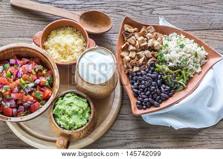 Chicken Burrito Bowl With The Ingredients