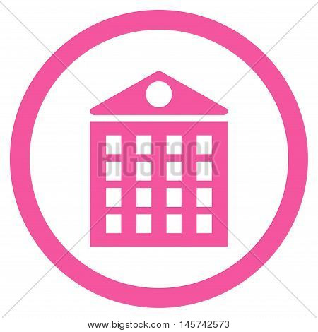 Multi-Storey House rounded icon. Vector illustration style is flat iconic symbol, pink color, white background.