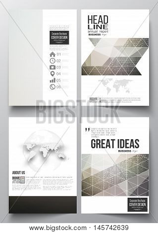 Set of business templates for brochure, magazine, flyer, booklet or annual report. Microchip background, electrical circuits, science design vector template.