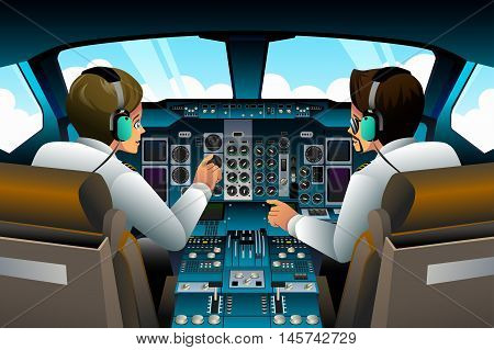A vector illustration of pilot and copilot inside the cockpit