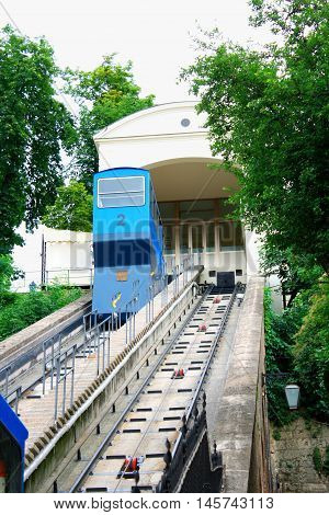 The Zagreb funicular is one of many tourist attractions in Zagreb, Croatia.