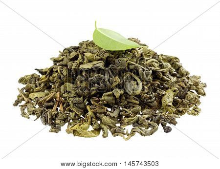 Green tea with leaf isolated on white background.