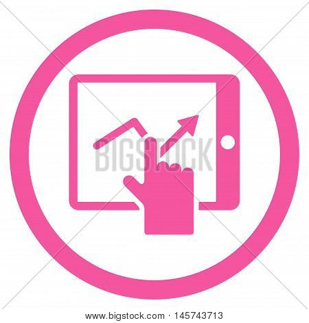 Tap Trend on Pda rounded icon. Vector illustration style is flat iconic symbol, pink color, white background.