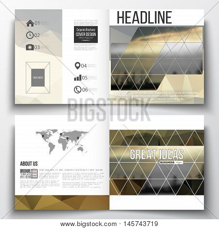 Vector set of square design brochure template. Colorful polygonal background with blurred image, seaport landscape, modern stylish triangular vector texture.