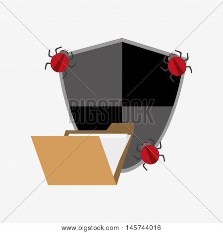 envelope or file folder with shield and bugs virus representation system security design