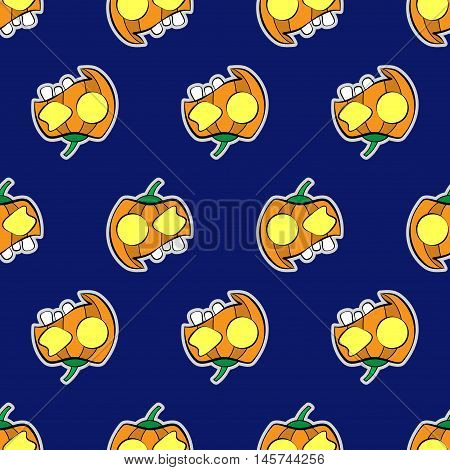 seamless pattern wrapping paper - halloween orange pumpkins with cap two yellow eyes and three teeth on a violet background