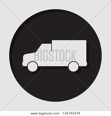 information icon - dark circle with white van and shadow