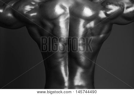 Human body back in black and white