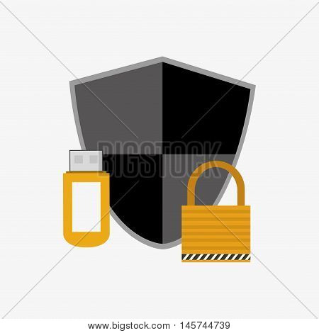 safety lock with shield and usb drive system security design