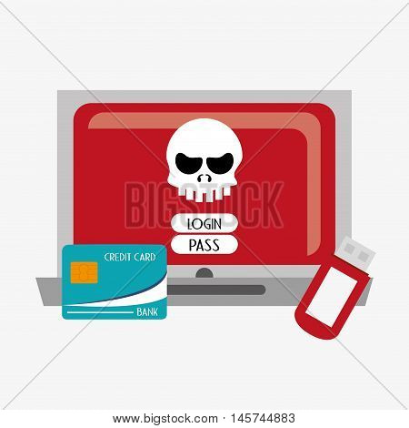 laptop computer with skull virus representation login password credit card and usb drive system security design
