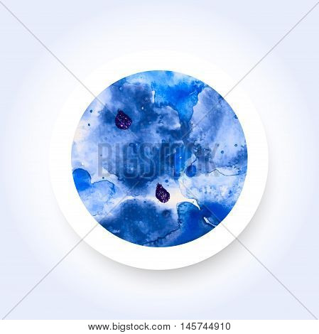 Abstract blue colorful watercolor wash with the salt technique round sticker. Vector EPS-10 file transparency used.