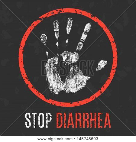 Conceptual vector illustration. Human diseases. Stop diarrhea.