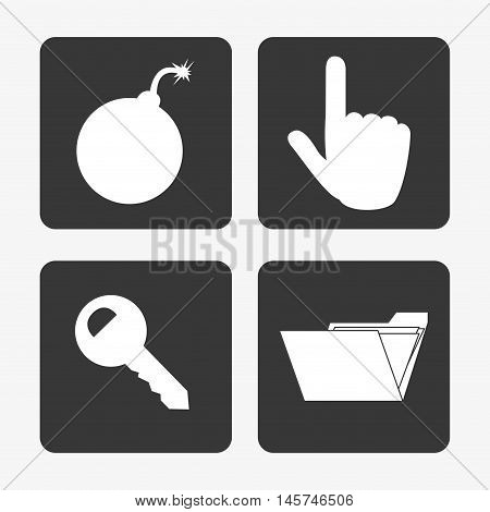bomb virus representation hand pointer key and file folder system security design vector illustration