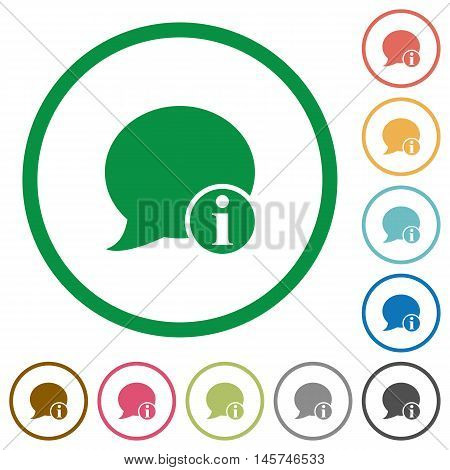 Set of blog comment info color round outlined flat icons on white background