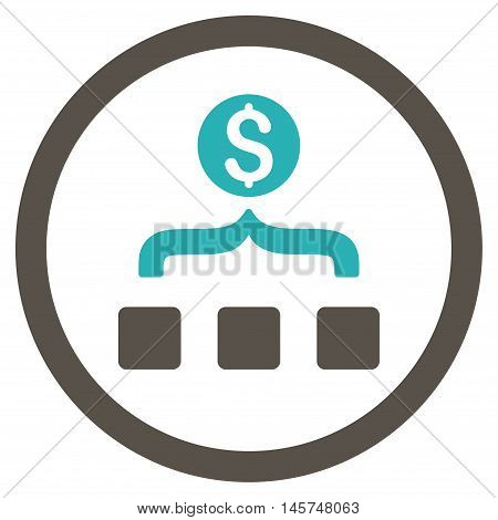 Money Aggregator rounded icon. Vector illustration style is flat iconic bicolor symbol, grey and cyan colors, white background.