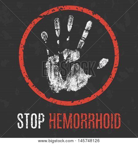 Conceptual vector illustration. Human diseases. Stop hemorrhoid.