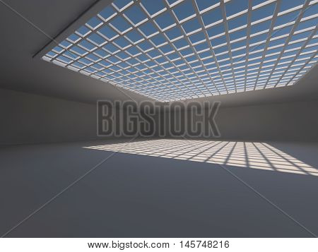Abstract modern architecture background, empty white open space interior, 3D rendering
