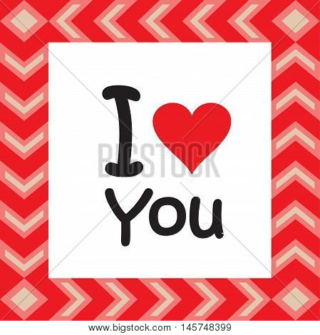Love card. I love You. Red vintage frame and red heart. Abstract vector illustration. Valentines day card. Mothers Day, Family Day, Wedding day. Flat heart icon. T-Shirt Print.