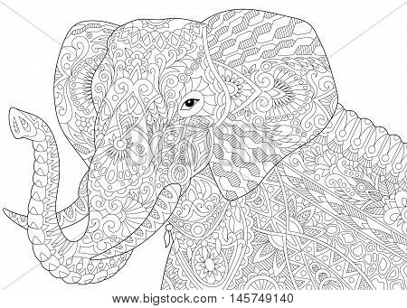 Stylized elephant isolated on white background. Freehand sketch for adult anti stress coloring book page with doodle and zentangle elements.