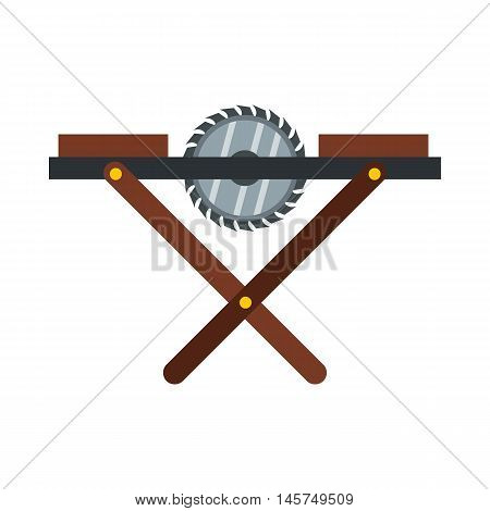 Movable circular saw icon in flat style isolated on white background. Tools symbol vector illustration
