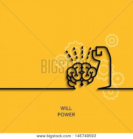 Vector business illustration in linear style with a picture of willpower as brain and muscle hand on yellow background poster or banner template.