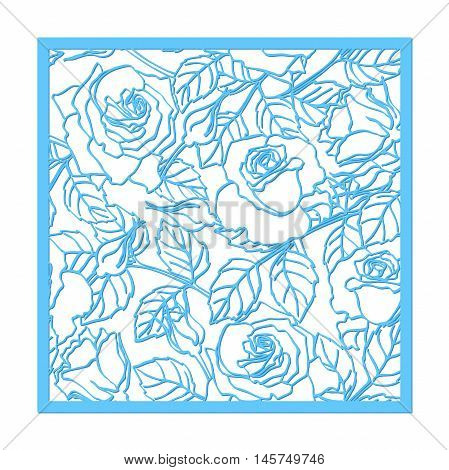 Laser cut vector rose ornament. Cutout pattern silhouette with flower and leaves. Die cut paper element for wedding invitations save the date greeting card. Square botanical cutting template panel