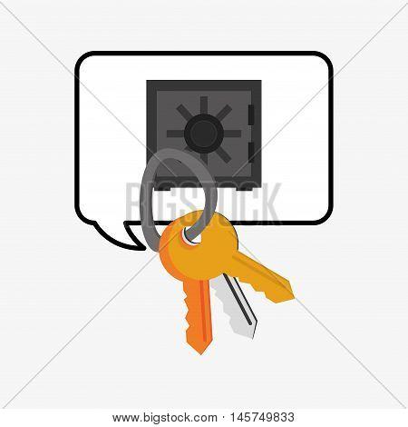 keys and safe deposit box system security design vector illustration