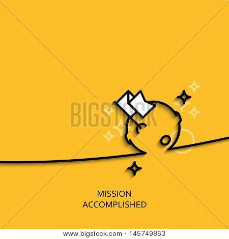 Vector business illustration in linear style with a picture of mission accomplished as flag and moon on yellow background poster or banner template.